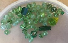 Vintage Japan Mix Green Round Fruit Salad Leaf Bar Tube Bead Soup Glass Beads