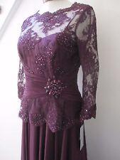 Teri Jon By Rickie Freeman Lace Chiffon Peplum Lace Long Evening Dress NEW NWT 4