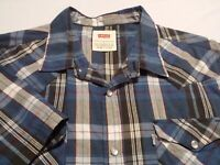 Levi's Mens Large Short Sleeve Pearl Snap Multicolor Plaid Check Western Shirt