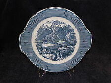 """Currier Ives Royal China Blue and White Platter Rocky Mountains 11 1/2""""  Crazing"""