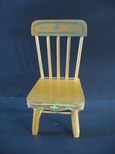 "Vintage Doll House Miniature Furniture 6 1/2"" Country Chair Hdptd Folk art"