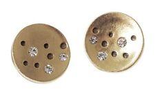 £20 Boho Art Deco Celtic Gold Round Stud Earrings Swarovksi Elements Crystal