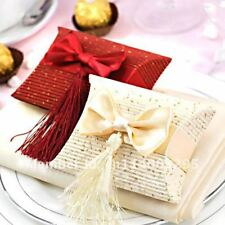 Beige Red Paper Pillow Boxes Gifts Wedding Favors  Party Bag Favours Sweet Box