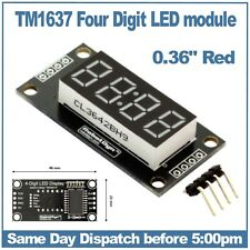 """4 Digit 7 segment 0.36"""" Red LED display module with clock points"""