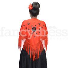 Pequeño Flamenco Español chal Rojo Y Negro Bordado tradicional Flecos Nueva 013