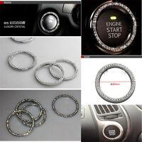 Car SUV Bling Decorative Accessories Button Start Switch Silver Diamond 3cm Ring