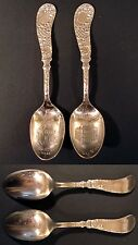 2 ANTIQUE BOSTON, MASS. SOUVENIR SPOONS, OLD STATE HOUSE, FANEUIL HALL SILVERPLT