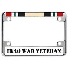 IRAQ WAR VETERAN Military Metal Motorcycle License Plate Frame Tag