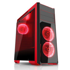 CIT Flash Mid Tower Gaming PC CUSTODIA NERA VENTOLE LED ROSSO USB 3.0