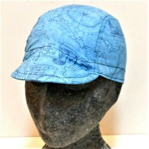 CYCLE CYCLING SPORT BLUE NAUTICAL SEA SHIPS MAPS COTTON BICYCLE CAP HAT UK MADE