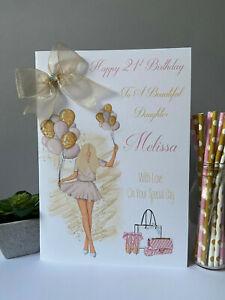 Large A4 Birthday Card Personalised Handmade Daughter Granddaughter 16 18 21 30