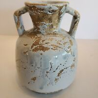 Vintage Blue Pottery Jug Partially Glazed & Crackled Approx 6x4.5 Inch Stoneware
