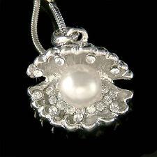 w Swarovski Crystal ~Shell Pearl Seashell~ Beach wedding Charm Pendant Necklace