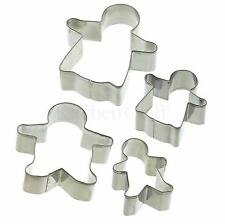 Kitchencraft Set 4 in metallo GINGERBREAD FAMILY Biscotto / Cookie Cutters. Kids / Baking.