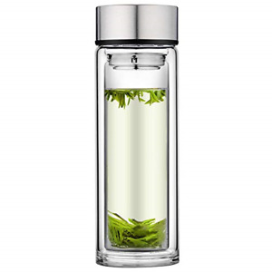 PARACITY Glass Tea Infuser Bottle Double Wall Borosilicate Glass Travel Mug with