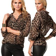 UK Women Leopard Print Chiffon Blouse Shirt Long Sleeve Ladies Tops Size 12-18
