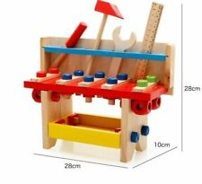 KIDS WOODEN WORK TOOL BENCH KITCHEN SET PRETEND PLAY TOY WOOD BUILDER TRAY BOX