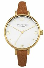 Daisy Dixon Paige Tan Pony Fur Fabric Strap Watch With White Dial