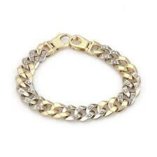 "Diamond 14k Two Tone Gold Curb Link Chain Bracelet 7.5"" Long"