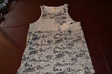 NWT MSRP $28 Mens Free Planet  Tank 100% Cotton Size Small with Pocket Tropical