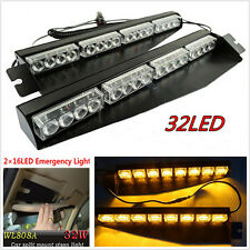 32LED Car SUV Sun Visor Emergency Warning Lamp Amber Strobe Light Bar W/ Bracket