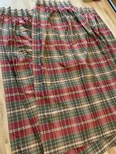 THREE Plaid Red Geeen Curtains Panels 26 X 83 Inches Handmade Blackout Lined