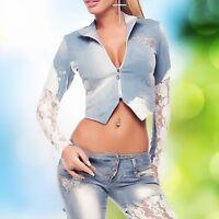 Damenjacke Damen Blazer Jeansjacke Jacke Mantel Jeans Zipper Spitze 32-36 #429