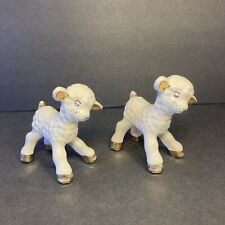 Pair Of Vintage Hand Painted Baby Porcelain/Ceramic Lamb Figurine w/Gold Trim