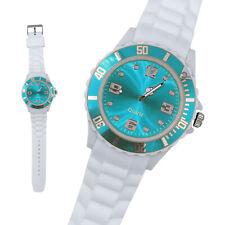 Silikon Armbanduhr Damen Kult Trend Gummi Watch Weiß / Petrol ( F4 )