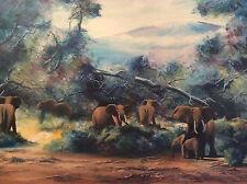 Huile sur toile réaliste éléphants  Afrique dite en procédé circa 1970 Africa