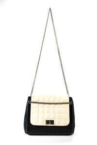 Chanel Womens Quilted Leather Flap Turnlock Shoulder Bag Handbag Black Ivory