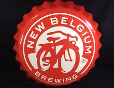 New Belgium Brewing Co - Tin Tacker Sign Craft Beer Mancave - Bottle Cap 19""