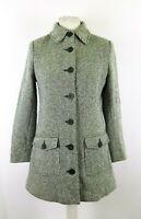 H&M Ladies Wool Blend Tweed Coat Size UK 12 Winter Smart Business