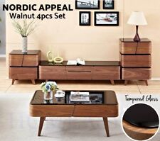 TV Stand Entertainment Unit Coffee Table Drawer Side Table Cabinet Set Or As One