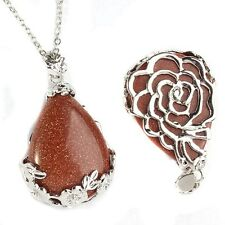 Natural Amethyst Gemstone Teardrop Flower Pendant Reiki Healing Bead Fr Necklace