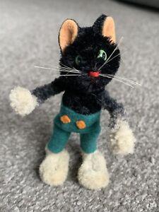 "Rare 1950/60s Schuco Black Boy Cat Mini Mascott Doll 3.5"" Mohair Chenille Nice"