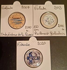 Pièces 2 Euro Commémorative COULEUR : Finlande 2007-2013-2020
