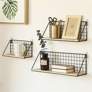 Metal + Wooden Industrial Wall Shelf Mounting Display Shelves Modernn Storage