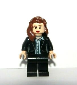 Lego Flesh Female Girl  Minifigure Figure Black Suit Brown Hair Reversible Head
