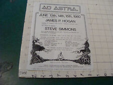 High Grade Sci Fi Flyer: AD ASTRAL ad flyer - picked up feb 16, 1980 JAMES HOGAN