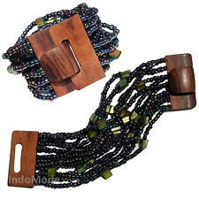 Greenish Rainbow Bronze Beaded Bali Bracelet Hard Wood Buckle Clasp w/ Mop shell