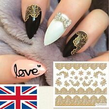 Nail Art 3D Stickers Gold Decal Transfer Shiny Metallic Jewellery Lace  YZW6009