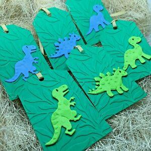 6/9 Handmade 3D Blue Green & Yellow Dinosaur Gift Tags Boy & Girl Birthday T-REX