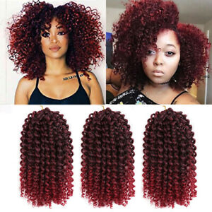 """3pcs/set 8""""Ombre Bug Mali Bob Curly Crochet Braid Afro Synthetic Hair Extensions"""
