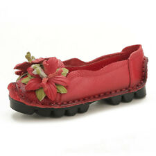 Genuine Leather Handmade Flower Loafers Soft Flats Womens Shoes Gifts Hot Sale