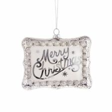 "MERRY CHRISTMAS Glass Christmas Tree Ornament, 5"" Long, by Midwest CBK"