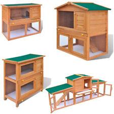 "31-75"" Wooden Rabbit Hutch Cage Chicken Coop House Hen Pet Animal Backyard Run"