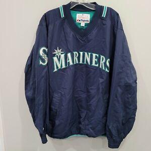 Majestic SEATTLE MARINERS Pullover Dugout windbreaker Jacket Mens L Blue