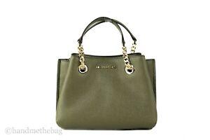 Michael Kors Teagen Signature Leather Small Satchel Messenger Purse Handbag