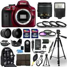 Nikon D3400 DSLR Camera Red + 18-55mm VR NIKKOR Lens + 30 Piece Accessory Bundle